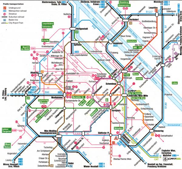 Метро, трамваи и элктрички в Вене
